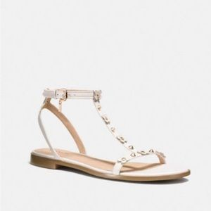 NWT Coach Henrietta White Gold Ankle Strap Sandal